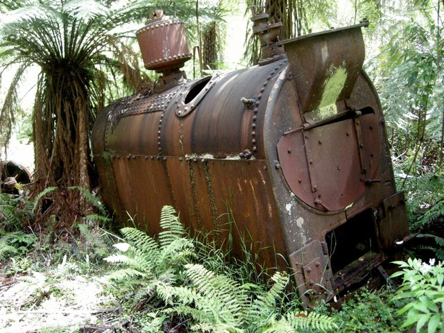 Old boiler on the path up to the Federal Mill site