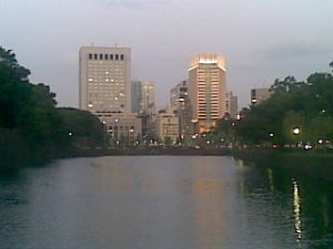 From Sakuradamon at sunset