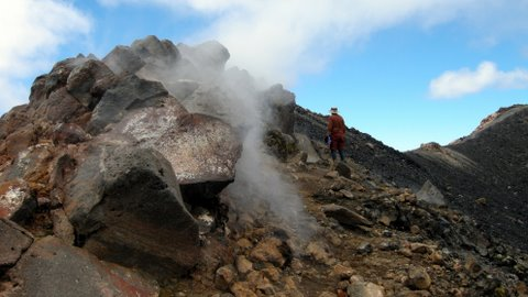 Steam vent on Mt Ngauruhoe crater rim